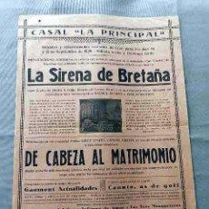 Cine: LA SIRENA DE BRETAÑA 1929 DE CABEZA AL MATRIMONIO PROGRAMA CARTEL DOBLE LOCAL ORIGINAL . Lote 50463603