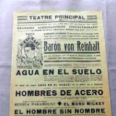 Cine: BARON VON REINHALT ... HOMBRES DE ACERO 1933 PROGRAMA CARTEL DOBLE LOCAL ORIGINAL EN CATALÁN. Lote 50463718
