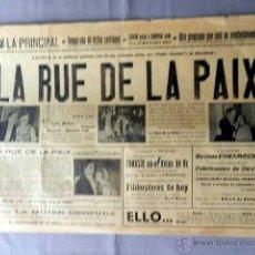 Cine: LA RUE DE LA PAIX 1927 ANDRÉE LAFAYETTE SUZY PIERSON, MALCOLM TOD PROGRAMA CINE MUDO CARTEL ORIGINAL. Lote 50465438