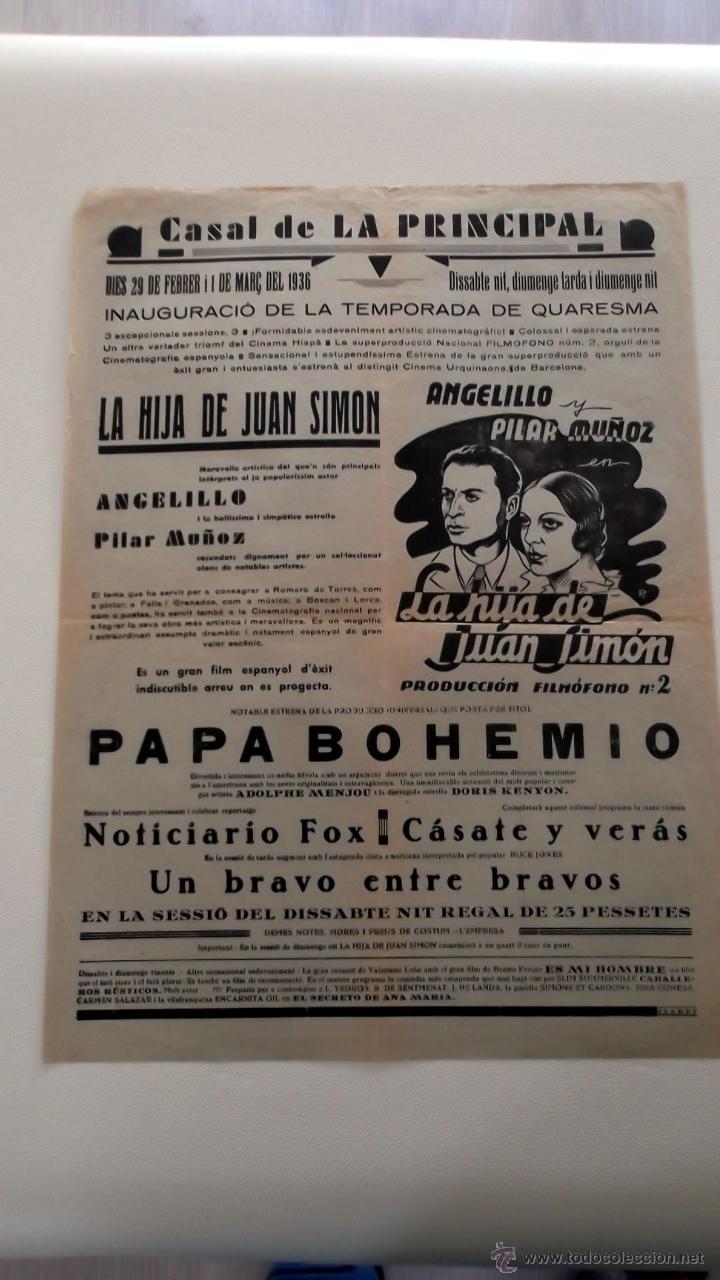 LA HIJA DE JUAN SIMON 1935 PILAR MUÑOZ ANGELILLO CARTEL ORIGINAL LOCAL 1936 EN CATALÁN (Cine - Posters y Carteles - Clasico Español)