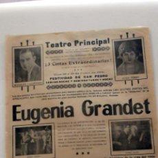 Cine: LA MUJER DEL FARAON . EUGENIA GRANDET .. PROGRAMA DOBLE CINE MUDO PASQUIN CARTEL LOCAL ORIGINAL 1924. Lote 50466794