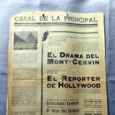 Cine: EL DRAMA DEL MONT - CERVIN ... PASE 1930 PROGRAMA CARTEL CINE MUDO ORIGINAL LOCAL. Lote 50469203