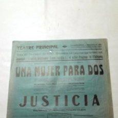 Cine: UNA MUJER PARA DOS . JUSTICIA . FRA DIAVOLO LAUREL Y HARDY PROGRAMA CARTEL CINE MUDO ORIGINAL LOCAL. Lote 50469323
