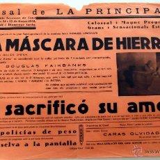 Cine: LA MÁSCARA DE HIERRO ... Y SACRIFICÓ SU AMOR PROGRAMA CARTEL CINE MUDO ORIGINAL LOCAL. Lote 50469339