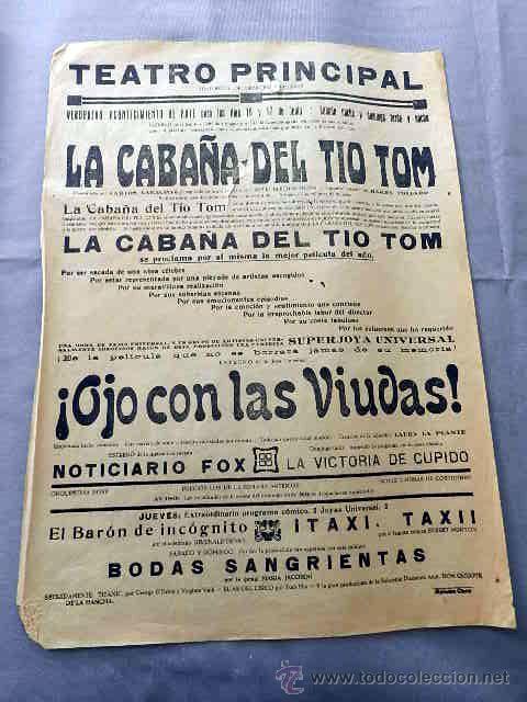 LA CABAÑA DEL TIO TOM... OJO CON LAS VIUDAS ... PROGRAMA CARTEL CINE MUDO ORIGINAL LOCAL (Cine - Posters y Carteles - Clasico Español)