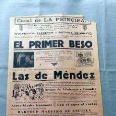 Cine: EL PRIMER BESO 1929 VARIEDADES PROGRAMA CARTEL LOCAL VILAFRANCA DEL PENEDES . Lote 50470736