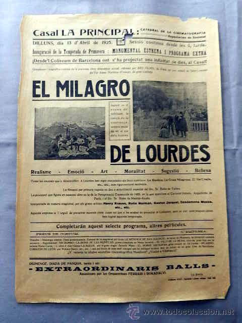 EL MILAGRO DE LOURDES 1925 PROGRAMA CINE CARTEL LOCAL CINE MUDO VILAFRANCA DEL PENEDES EN CATALÁN (Cine - Posters y Carteles - Documentales)
