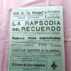 Cine: LA RAPSODIA DEL RECUERDO 1929 JOSEPH WAGSTAFF LOIS MORAN PROGRAMA CARTEL LOCAL CINE MUDO R. 1931. Lote 50471307