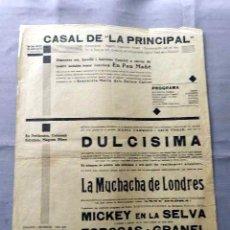 Cine: DULCINEA ESPOSAS A GRANEL MICKEY EN LA SELVA PROGRAMA CINE MUDO DOBLE LOCAL CARTEL PASQUIN ORIGINAL. Lote 50474700