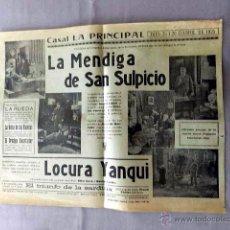 Cine: LA MENDIGA SAN SULPICIO 1923 ...PROGRAMA CINE MUDO DOBLE LOCAL CARTEL PASQUIN ORIGINAL 1925. Lote 50474739