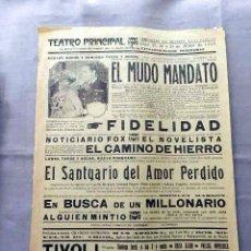 Cine: EL MUDO MANDATO 1923 PROGRAMA CINE MUDO DOBLE LOCAL CARTEL PASQUIN ORIGINAL. Lote 50481179