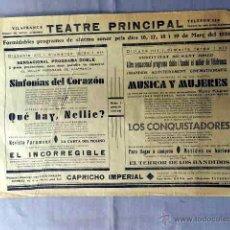 Cine: LOS CONQUISTADORES SINFONIA DEL CORAZON PROGRAMA 1935 CARTEL CINE SONORO LOCAL EN CATALÁN.. Lote 50481554