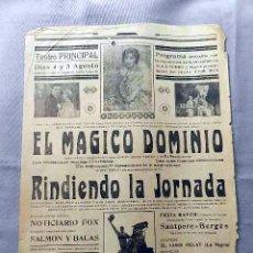 Cine: EL MÁGICO DOMINIO 1926 .- PROGRAMA CINE MUDO CARTEL CINE LOCAL . Lote 50481787