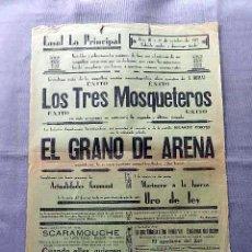 Cine: LOS TRES MOSQUETEROS 1929 PROGRAMA CINE MUDO CARTEL CINE LOCAL . Lote 50481957