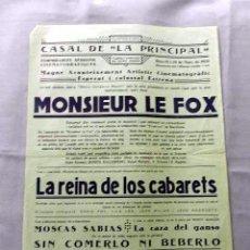 Cine: MONSIEUR LE FOX 1931 PROGRAMA CINE MUDO CARTEL CINE LOCAL VILAFRANCA PENEDES EN CATALÁN. Lote 50482157