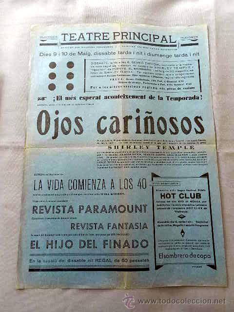 OJOS CARIÑOSOS .- PROGRAMA CINE SONORO DOBLE PASQUIN CARTEL LOCAL ORIGINAL EN CATALÁN (Cine - Posters y Carteles - Clasico Español)
