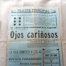 Cine: OJOS CARIÑOSOS .- PROGRAMA CINE SONORO DOBLE PASQUIN CARTEL LOCAL ORIGINAL EN CATALÁN. Lote 50482587