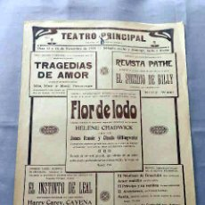 Cine: FLOR DE LODO 1924 PROGRAMA CINE MUDO DOBLE PASQUIN CARTEL LOCAL VILAFRANCA DEL PENEDES. Lote 50482651