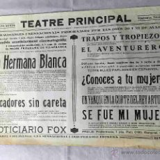 Cine: LA HERMANA BLANCA .- PECADORES SIN CARETA PROGRAMA CINE SONORO PASQUIN CARTEL LOCAL EN CATALÁN . Lote 50482955