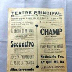Cine: SECUESTRO CHAMP 1934 PROGRAMA CINE SONORO PASQUIN CARTEL LOCAL EN CATALÁN . Lote 50482990