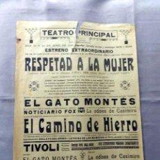 Cine: RESPETAD A LA MUJER PROGRAMA CINE MUDO PASQUIN CARTEL LOCAL EN CATALÁN. Lote 50483095