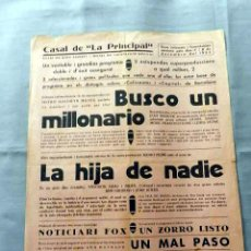 Cine: BUSCA UN MILLONARIO LA HIJA DE NADIE PROGRAMA CINE MUDO PASQUIN CARTEL LOCAL EN CATALÁN. Lote 50483126