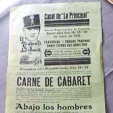 Cine: EL TENIENTE DEL AMOR .- PROGRAMA CINE MUDO DOBLE PASQUIN CARTEL LOCAL ORIGINAL VILAFRANCA PENEDES. Lote 50483235