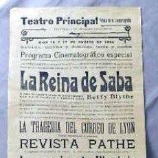 Cine: LA REINA DE SABA ... .- PROGRAMA CINE MUDO DOBLE PASQUIN CARTEL LOCAL ORIGINAL VILAFRANCA PENEDES. Lote 50483249