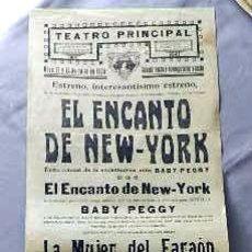 Cine: EL ENCANTO DE NUEVA YORK BABY PEGGY .- PROGRAMA DOBLE CINE MUDO PASQUIN CARTEL LOCAL ORIGINAL . Lote 50483283