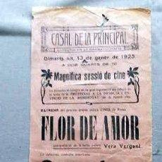 Cine: FLOR DE AMOR 1925 VERA VERDANT PROGRAMA DOBLE CINE MUDO PASQUIN CARTEL LOCAL ORIGINAL . Lote 50483340
