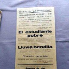 Cine: EL ESTUDIANTE POBRE PROGRAMA DOBLE CINE SONORO PASQUIN CARTEL LOCAL ORIGINAL EN CATALÁN. Lote 50483397