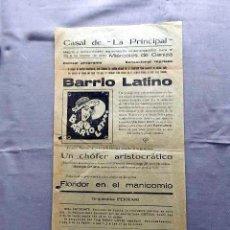 Cine: BARRIO LATINO PROGRAMA DOBLE CINE MUDO PASQUIN CARTEL LOCAL 1930. Lote 50483485