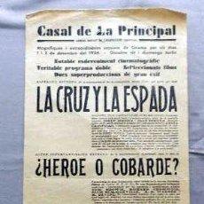 Cine: LA CRUZ Y LA ESPADA PROGRAMA DOBLE CINE SONORO PASQUIN CARTEL LOCAL 1930 EN CATALÁN. Lote 50483527