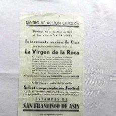 Cine: LA VIRGEN DE LA ROCA ... PROGRAMA DOBLE CINE PASQUIN CARTEL LOCAL 1940. Lote 50483561
