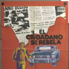 Cine: WF11 EL CIUDADANO SE REBELA FORD MUSTANG FRANCO NERO BARBARA BACH POSTER ORIGINAL 70X100 ESTRENO. Lote 50531746