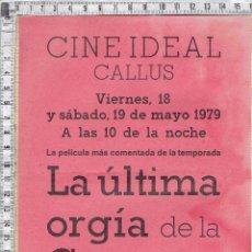Cine: PEQUEÑO CARTEL PUBLICITARIO CINE IDEAL-CALLÚS-1979.PELICULA LA ULTIMA ORGÍA DE LA GESTAPO .. Lote 50548803