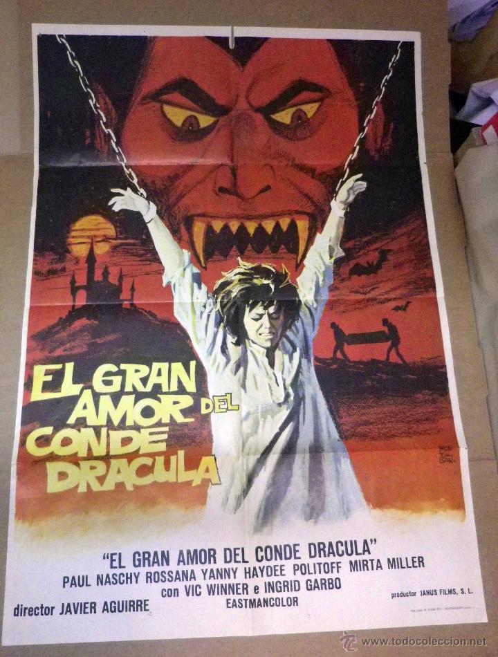ANTIGUO CARTEL ORIGINAL, CINE, EL GRAN AMOR DEL CONDE DRACULA, 100 X 70 CM (Cine - Posters y Carteles - Terror)