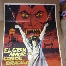 Cine: ANTIGUO CARTEL ORIGINAL, CINE, EL GRAN AMOR DEL CONDE DRACULA, 100 X 70 CM. Lote 50801184