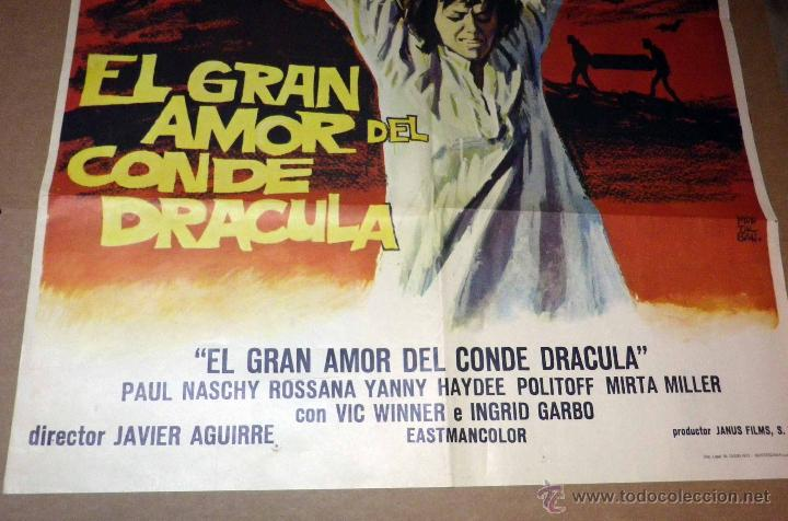 Cine: ANTIGUO CARTEL ORIGINAL, CINE, EL GRAN AMOR DEL CONDE DRACULA, 100 x 70 cm - Foto 2 - 50801184