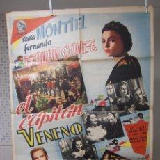 Cine: CARTEL CINE ORIG EL CAPITAN VENENO (1950) / 70X100 / SARA MONTIEL / FERNANDO FERNAN GOMEZ. Lote 52170016