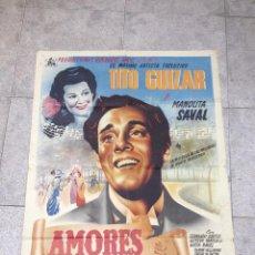 Cine: CARTEL DE CINE. AMORES DE AYER. TITO GUIZAR Y MANOLITA SAVAL. 70 X 98CM.. Lote 52338521