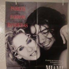 Cine: CARTEL CINE ORIG MIAMI (1995) / 70X100 / SARAH YESSICA PARKER / MIA FARROW / ANTONIO BANDERAS. Lote 52878944