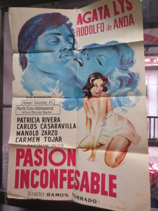 CARTEL PASIÓN INCONFESABLE AGATA LYS & RODOLFO DE ANDA PASION INCONFESABLE (Cine - Posters y Carteles - Clasico Español)