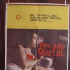 Cine: CARTEL CINE ORIG PECADO MORTAL (1977) / 70X100 / SARA LEZANA. Lote 53343373