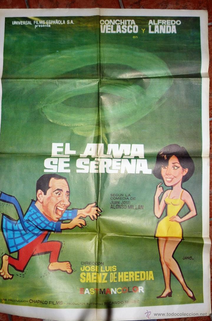 GRAN CARTEL PELICULA ESPAÑOLA EL ALMA SE SERENA . CONCHA VELASCO Y ALFREDO LANDA 100/ 70 CM 1968 (Cine - Posters y Carteles - Clasico Español)