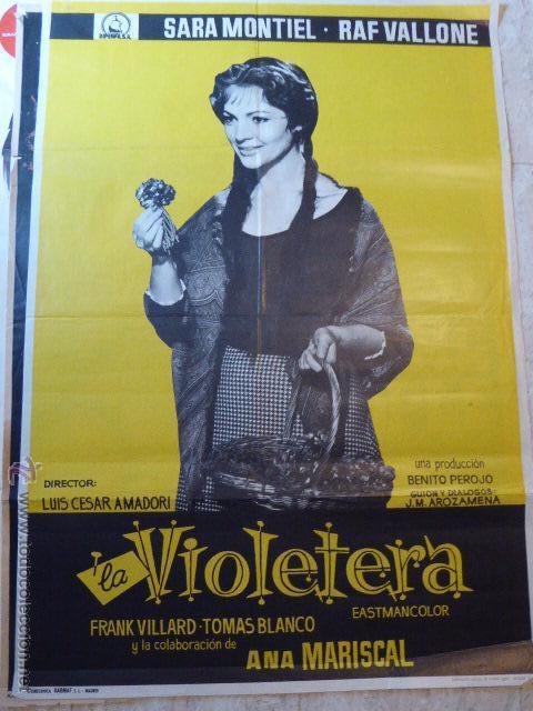LA VIOLETERA. SARA MONTIEL.CARTEL DE CINE- MOVIE POSTER (Cine - Posters y Carteles - Clasico Español)