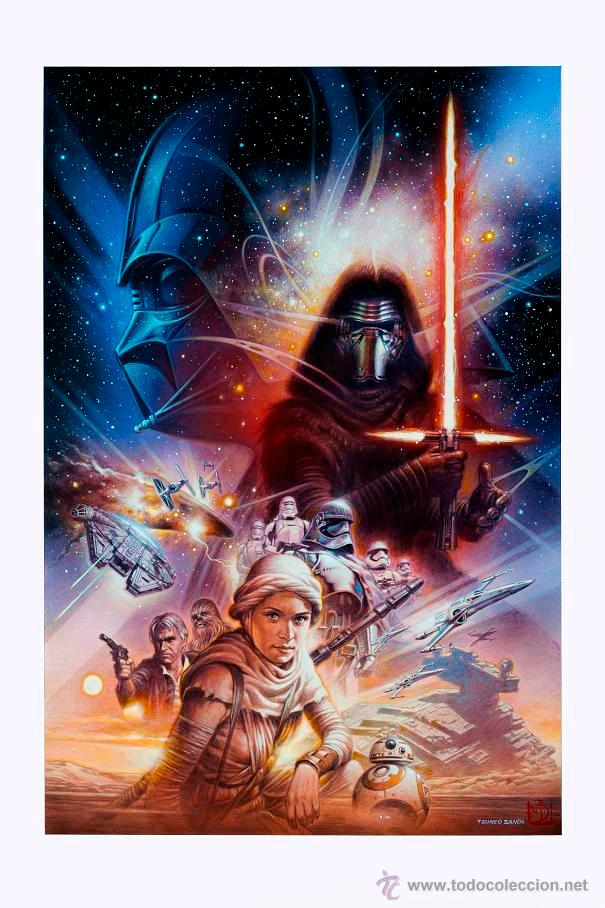 STAR WARS LÁMINA EXCLUSIVA LIMITADA EXPOCÓMIC 2015 KYLO REN TSUNEO SANDA (Cine - Posters y Carteles - Ciencia Ficción)