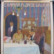 Cine: CARMIÑA FLOR DE GALICIA POSTER GRANDE 114X83 AÑO 1926. Lote 53946879