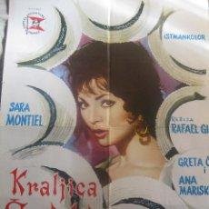 Cine: LA REINA DEL CHANTECLER CARTEL ORIGINAL YUGOSLAVIA 1962 SARA MONTIEL 69 X 49 CM. Lote 54266373
