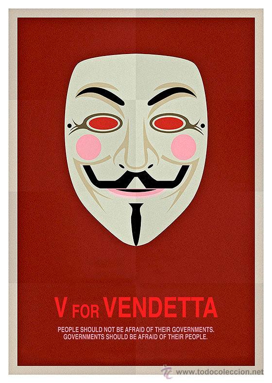 V DE VENDETTA. LÁMINA CARTEL DE 45 X 32 CMS. (Cine - Posters y Carteles - Ciencia Ficción)